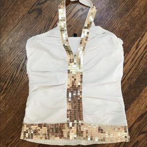 White and Gold Sequins Halter top